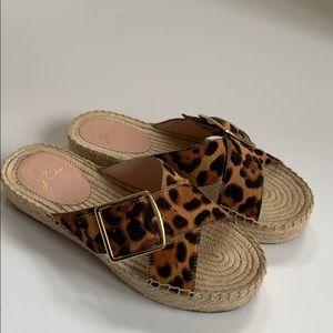 Jcrew leopard espadrille flat form